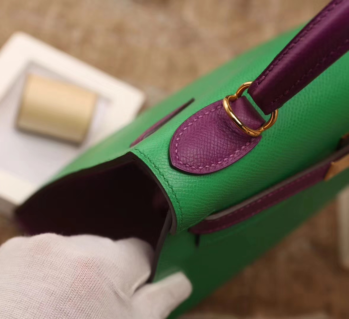 Hermes爱马仕 Kelly 28 1K竹子绿拼P9海葵紫 原厂御用顶级Epsom皮 外缝 金扣