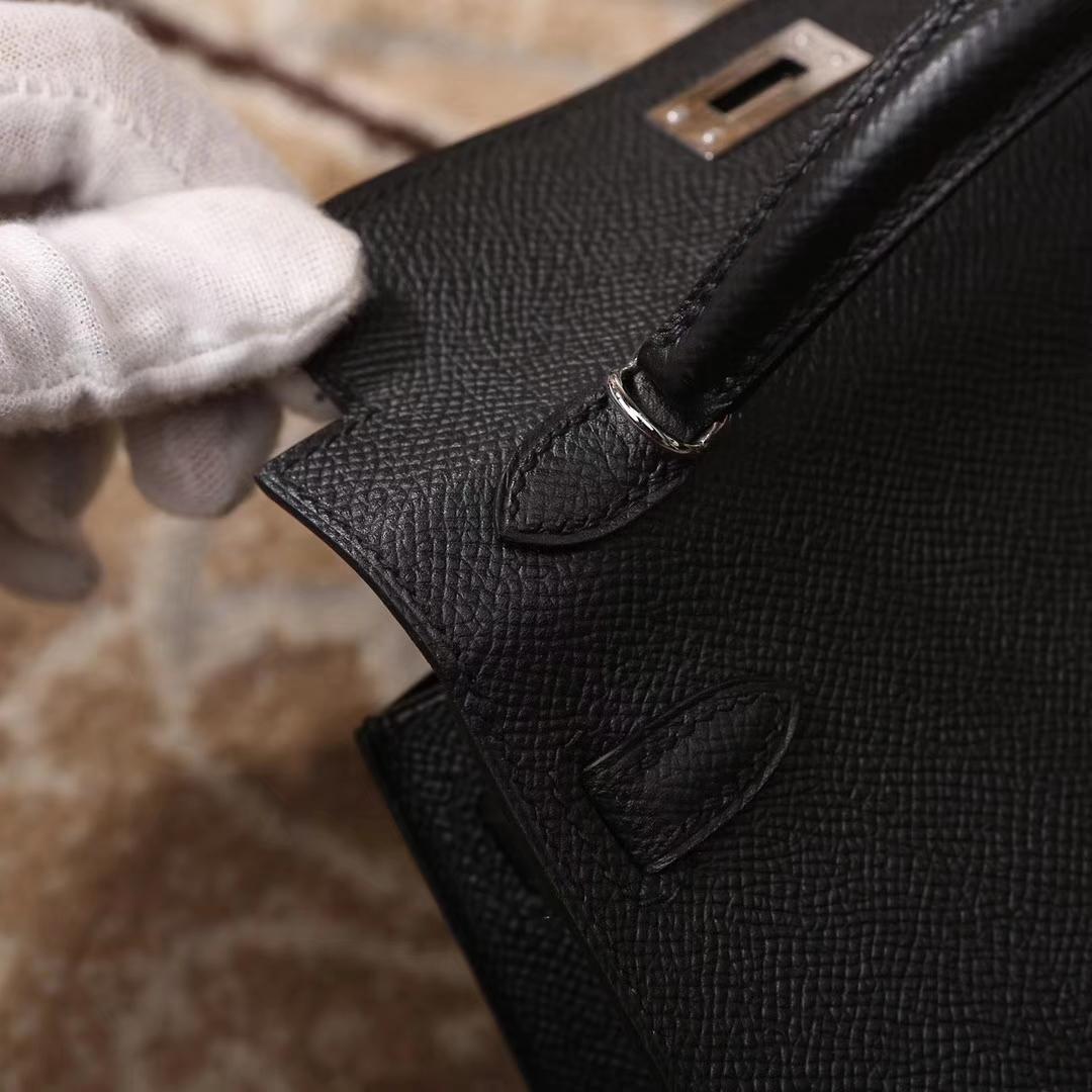 Hermes爱马仕 CK89 黑色 原厂御用顶级Epsom 皮 Mini Kelly 二代 银扣 现货