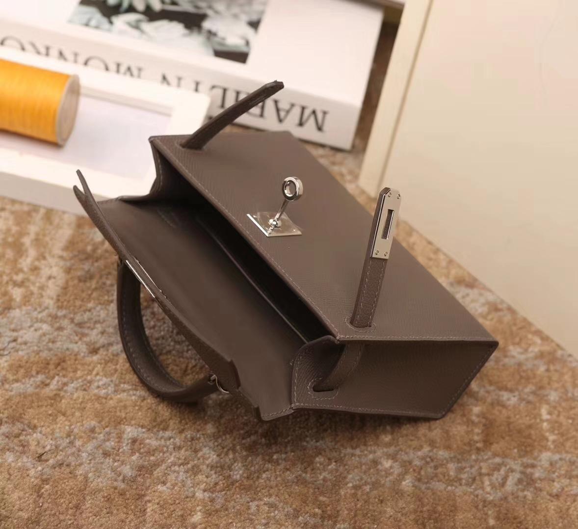 Hermes爱马仕 Mini Kelly 8F 锡器灰 原厂御用顶级Epsom皮 二代 银扣