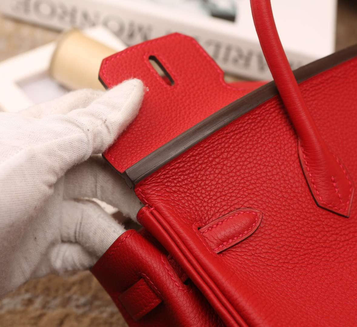 Hermes爱马仕 Birkin 25 Q5 中国红 原厂御用顶级小牛皮 银扣 现货