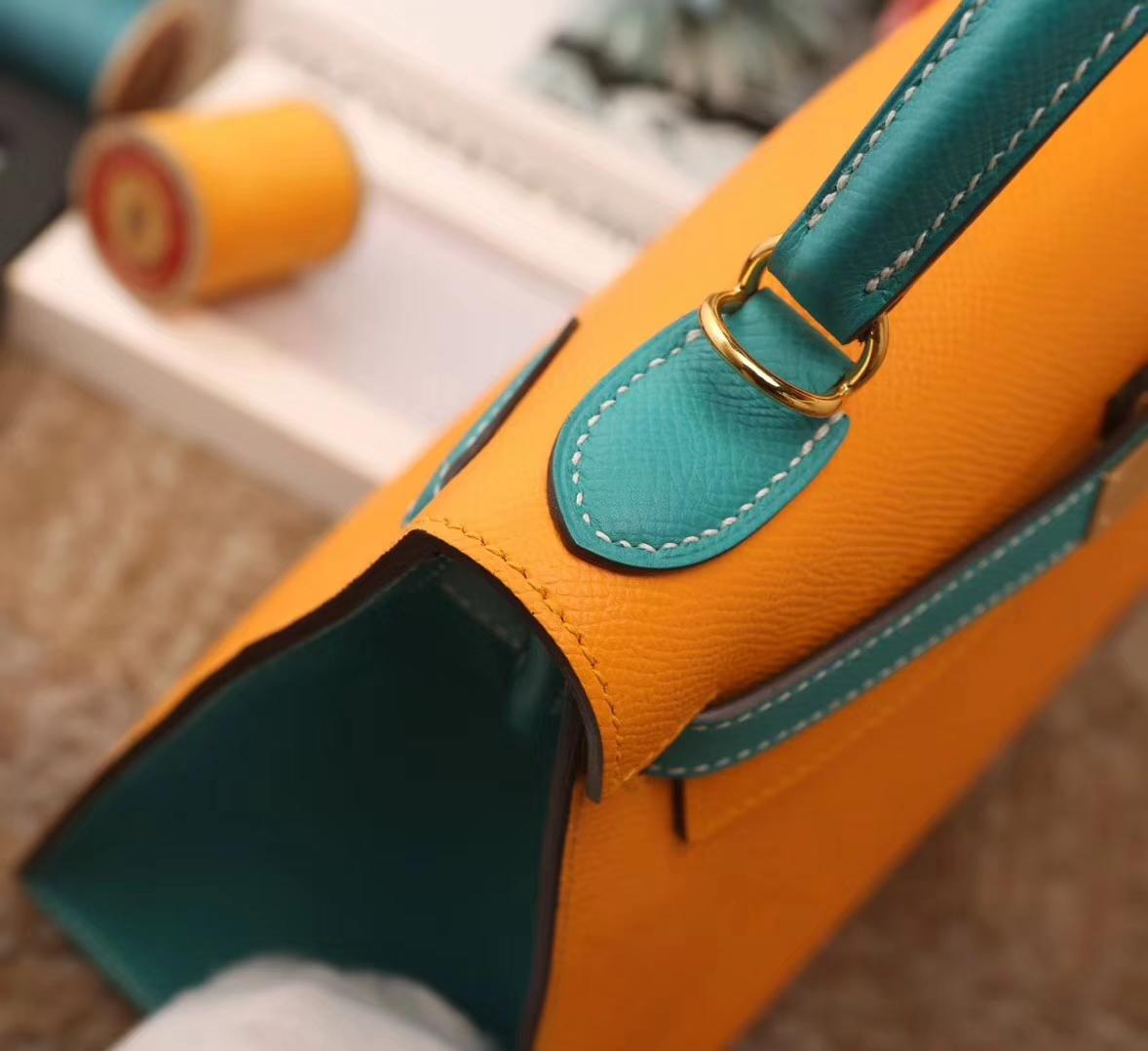 Hermes爱马仕 Kelly 28 9V 太阳黄拼7F孔雀蓝 原厂御用顶级Epsom皮 外缝 金扣 全手工