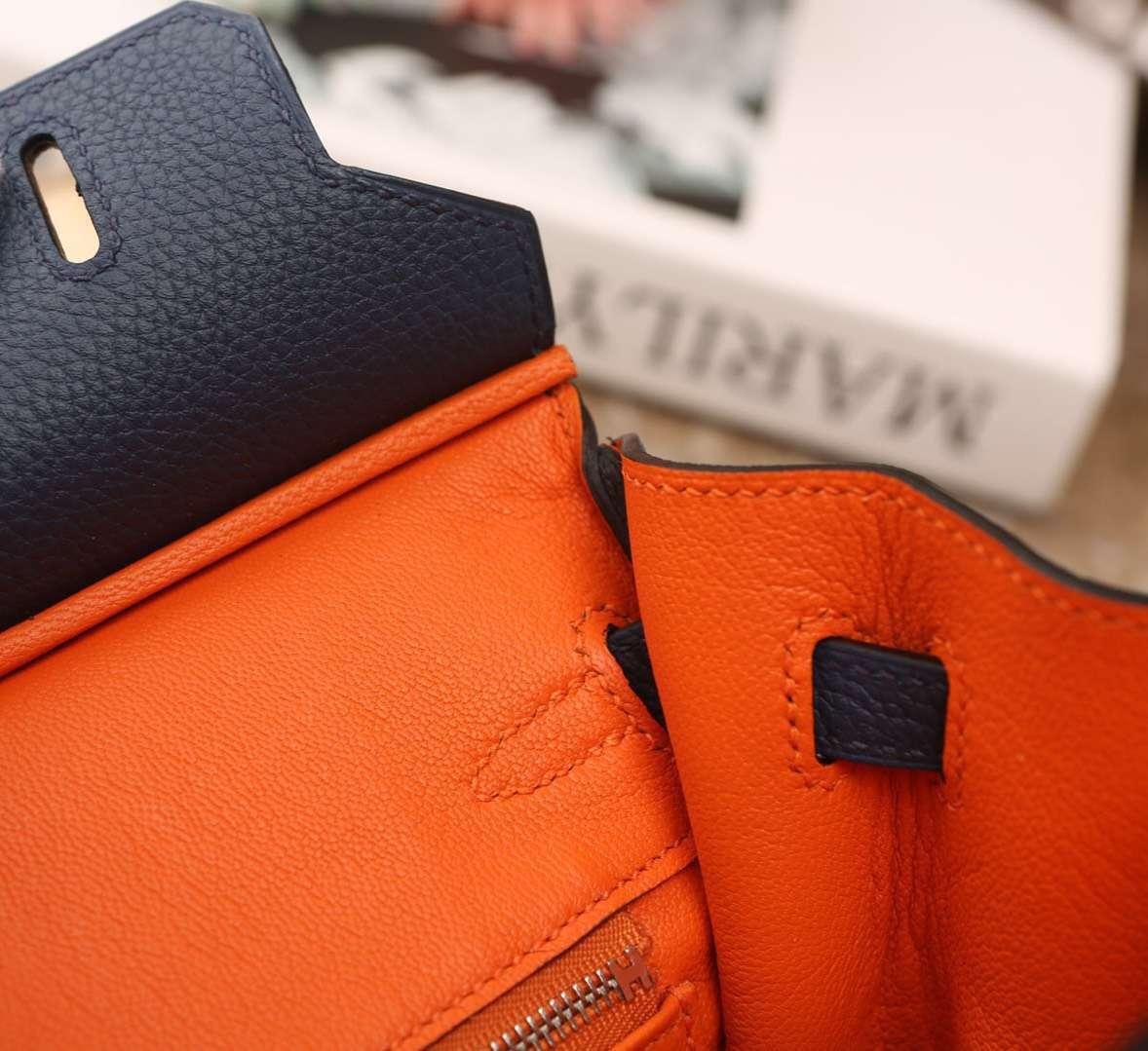 Hermes爱马仕 Birkin 25 7K 宝石蓝内拼橙色 原厂御用顶级小牛皮 银扣