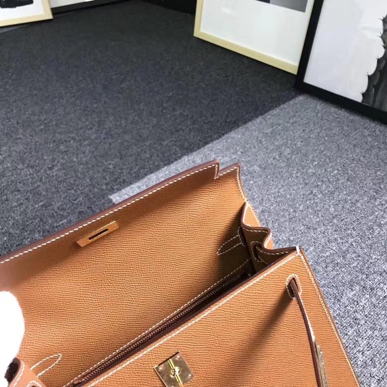 Hermes爱马仕 金棕色 浅咖啡 原厂御用顶级Epsom 皮 Kelly 25 外缝 金扣 现货