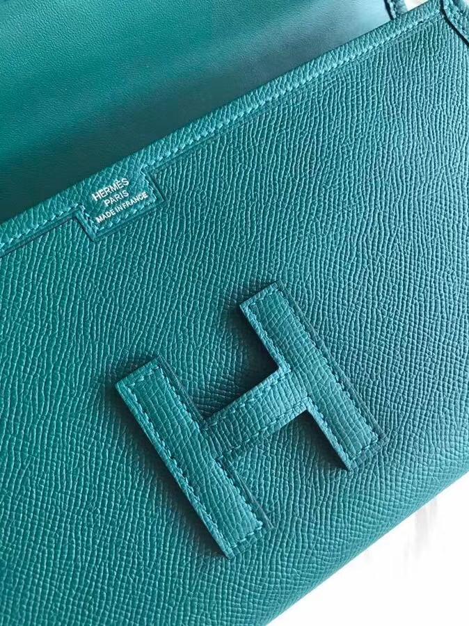 Hermes爱马仕 jige29手包 原装等级进口epsom皮 孔雀绿