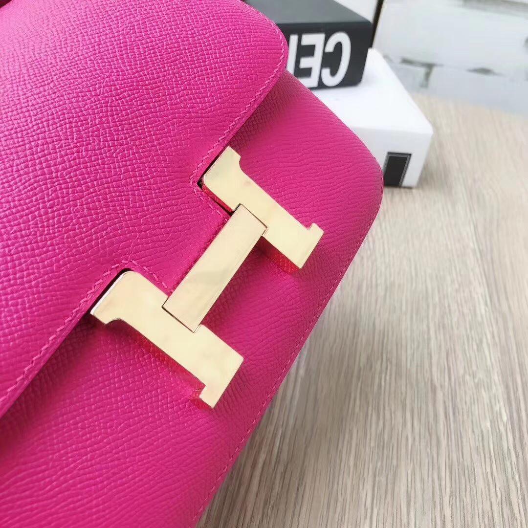Hermes爱马仕 L3 玫瑰紫色 原厂御用顶级Epsom 皮 Constance 19 金扣