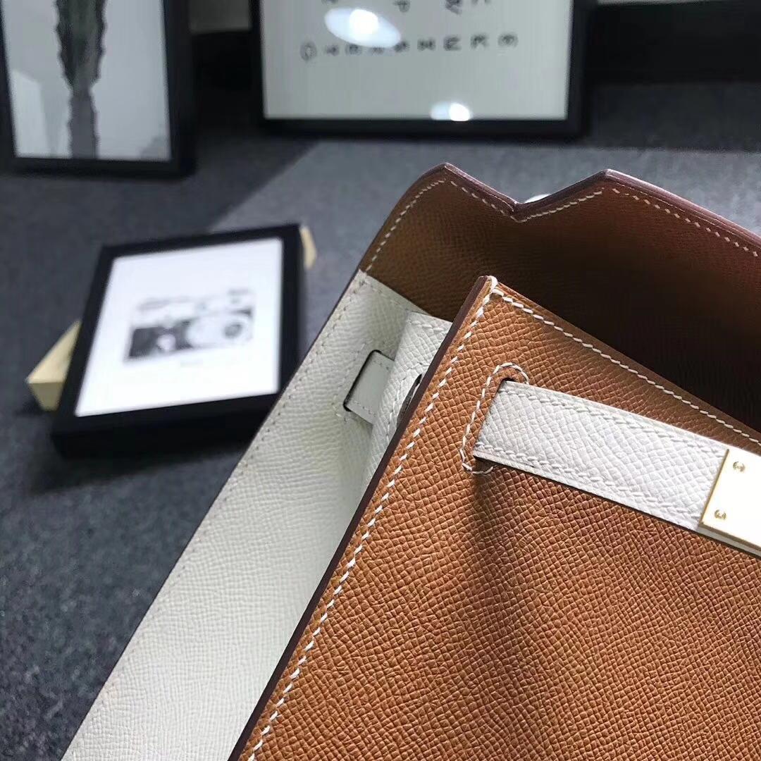 Hermes爱马仕 金棕色拼奶昔白 原厂御用顶级Epsom 皮 Kelly 28 外缝 拉丝金扣