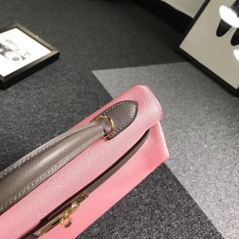 Hermes爱马仕 1Q芭比粉拼8F锡器灰 原厂御用顶级Epsom 皮 Kelly 32 内缝 金扣