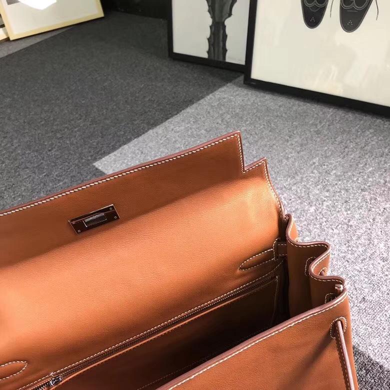 Hermes爱马仕 金棕色 原厂御用顶级Swift 皮 Kelly 32 内缝 银扣