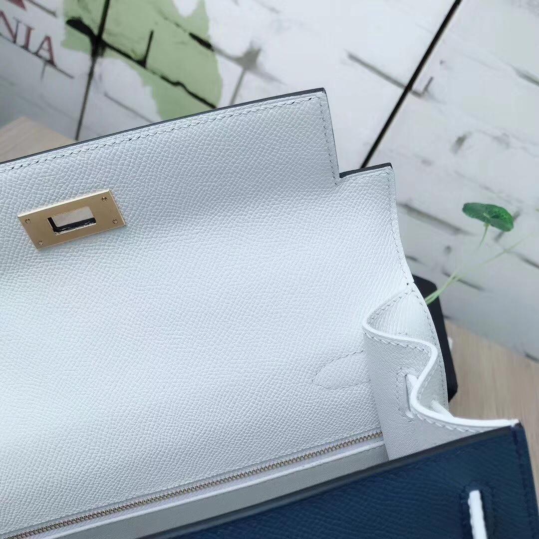 Hermes爱马仕 R2 玛瑙蓝 原厂御用顶级Epsom 皮 Kelly 28 外缝 金扣