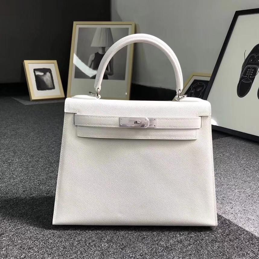 Hermès(爱马仕)纯白色 原厂御用顶级Epsom 皮Kelly 28 外缝 银扣