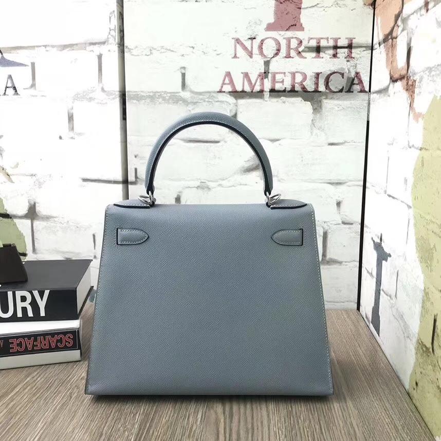 Hermès(爱马仕)J7 亚麻蓝 原厂御用顶级Epsom 皮 Kelly 28 外缝 银扣
