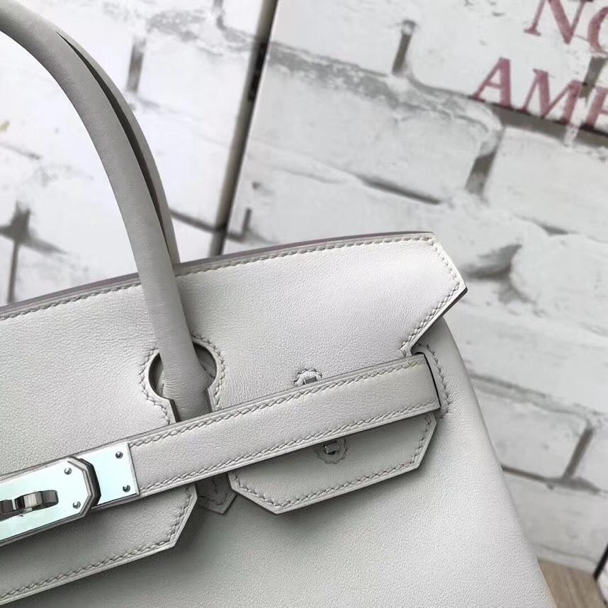 Hermès(爱马仕)C80 珍珠灰 原厂御用顶级Swift 皮 Birkin 30 银扣