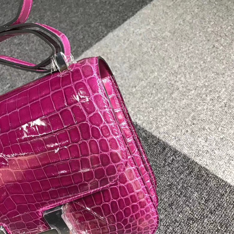 Hermès(爱马仕)J5 天方夜谭紫 Constance 19 银扣 亮面鳄鱼
