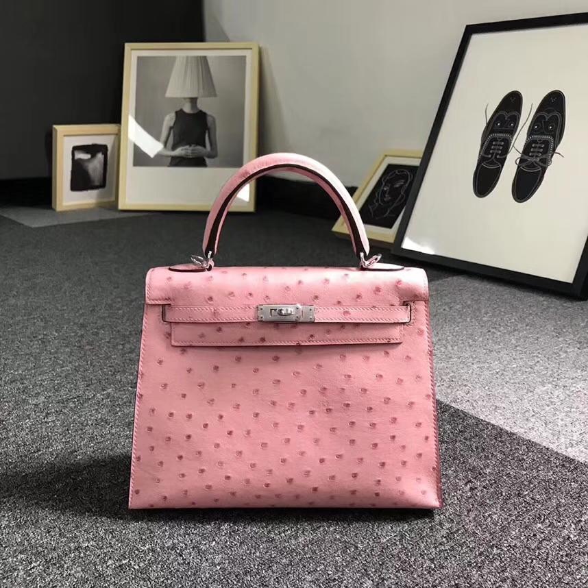 Hermès(爱马仕)陶瓷粉 原厂御用顶级KK鸵鸟皮 Kelly 25 外缝 银扣