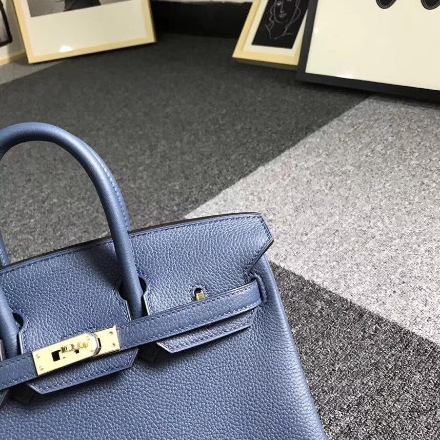 Hermès(爱马仕)7K宝石蓝 原厂御用顶级小牛皮 Birkin 25 金扣 现货
