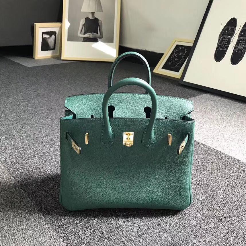 Hermès(爱马仕)Z6 孔雀绿 原厂御用顶级小牛皮 Birkin 25 金扣 现货