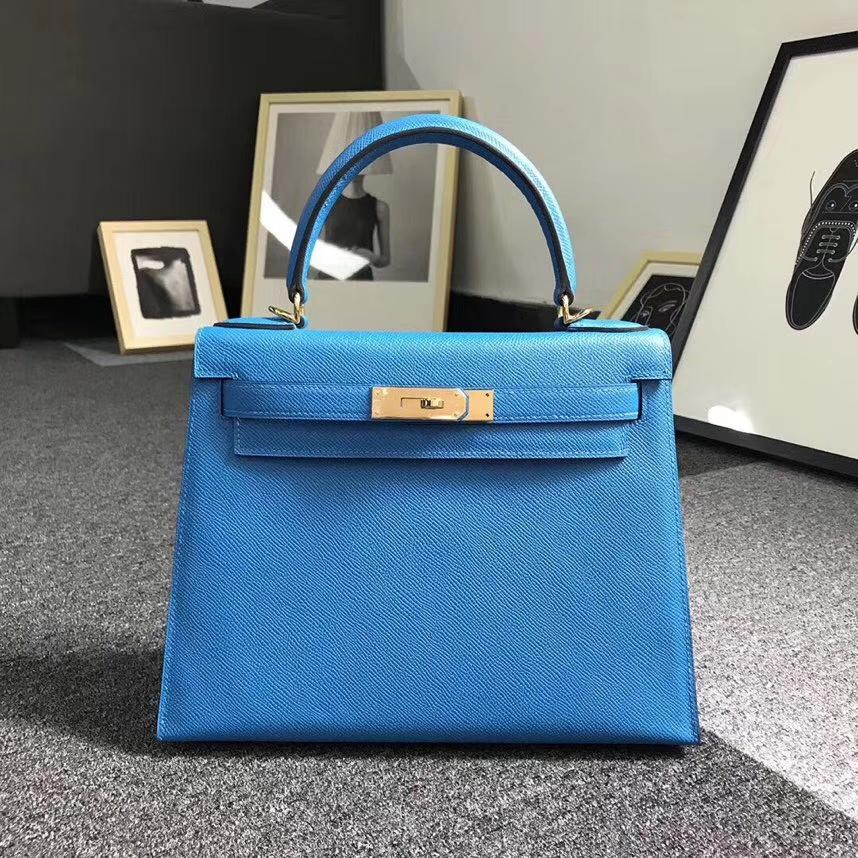 Hermès(爱马仕)B3 坦桑尼亚蓝 原厂御用顶级Epsom 皮 Kelly 28 外缝 金扣