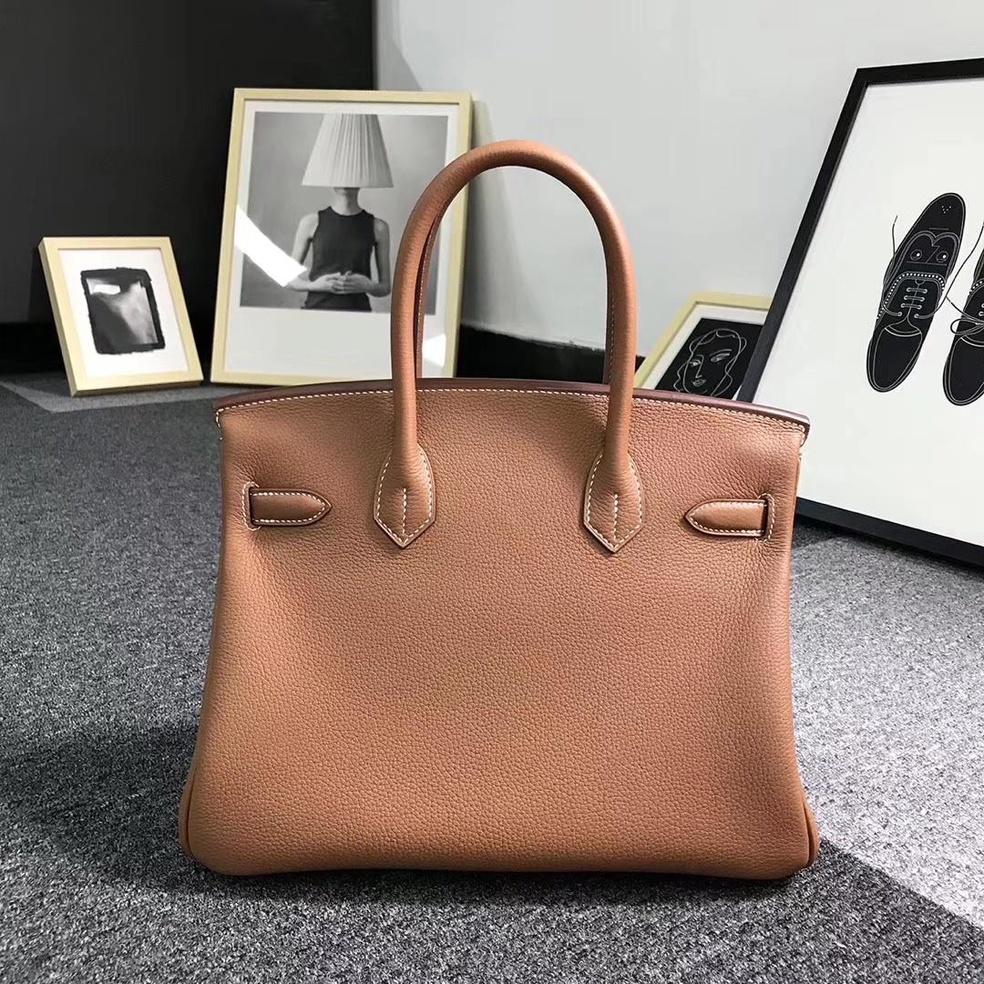 Hermès(爱马仕)金棕色 原厂御用顶级小牛皮 Birkin 30 金扣  现货