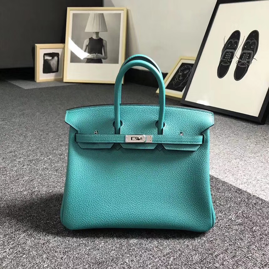 Hermès(爱马仕)7F孔雀蓝 原厂御用顶级小牛皮 Birkin 25 银扣