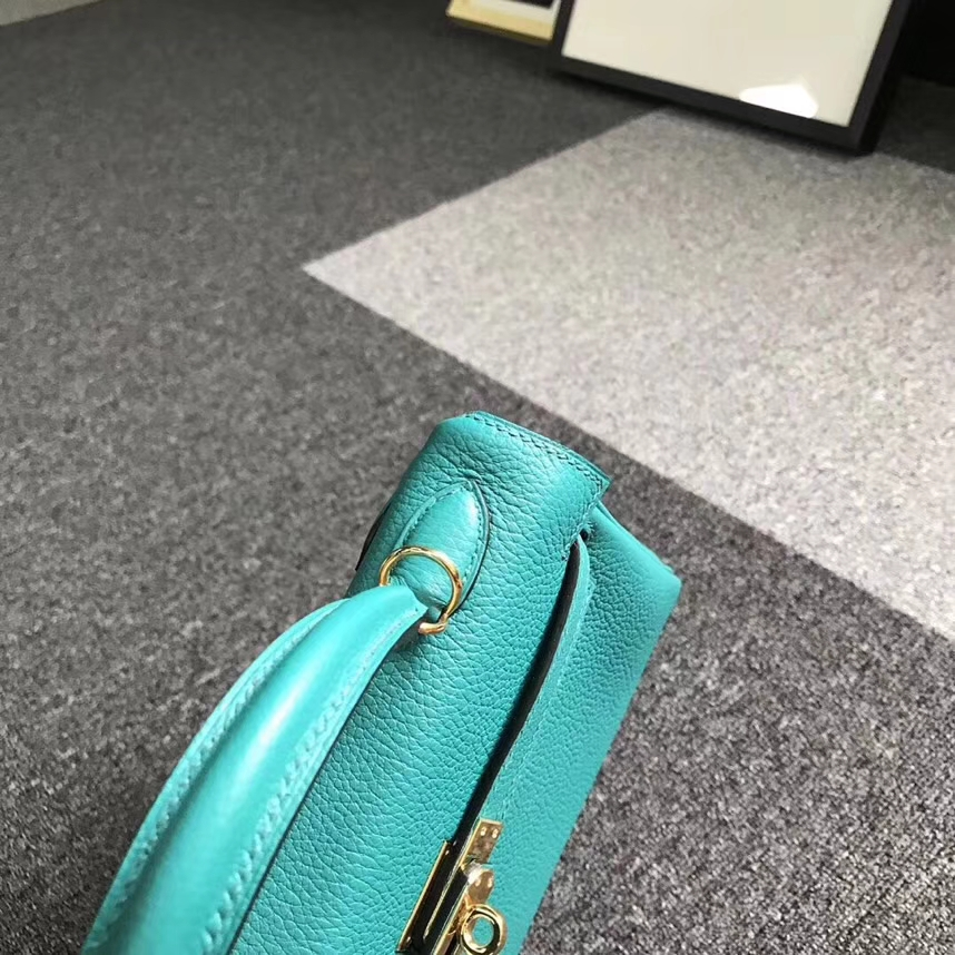 Hermès(爱马仕)7F孔雀蓝 原厂御用顶级小牛皮 Kelly 25 金扣