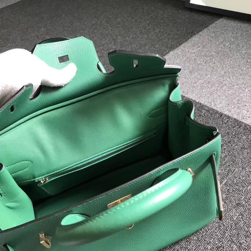 Hermès(爱马仕)U4 丝绒绿 原厂御用顶级小牛皮 Birkin 30 金扣 现货
