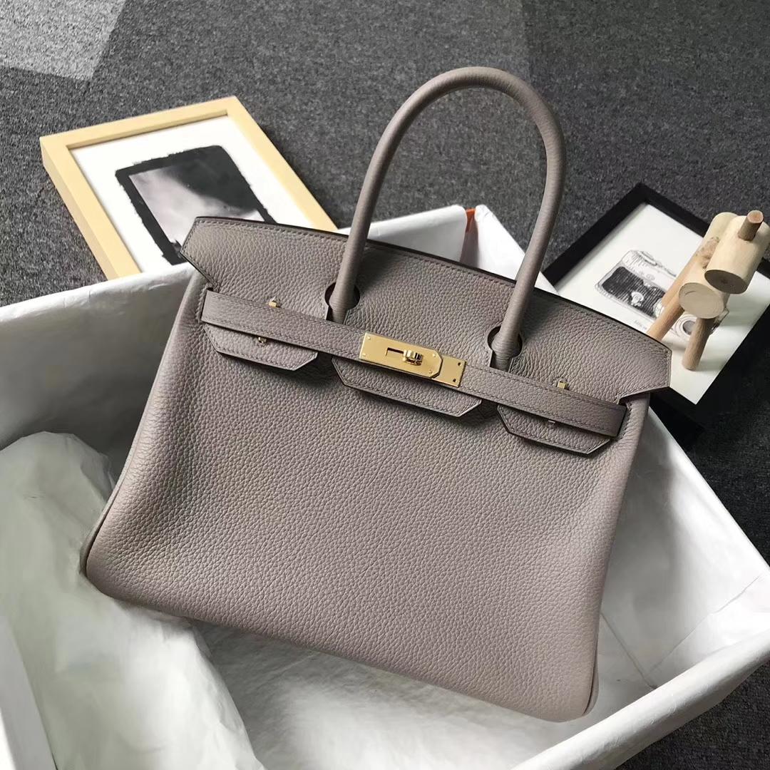f514551d4df Hermès(爱马仕)M8巴黎灰沥青灰原厂御用顶级小牛皮Birkin 30 金扣现货 ...