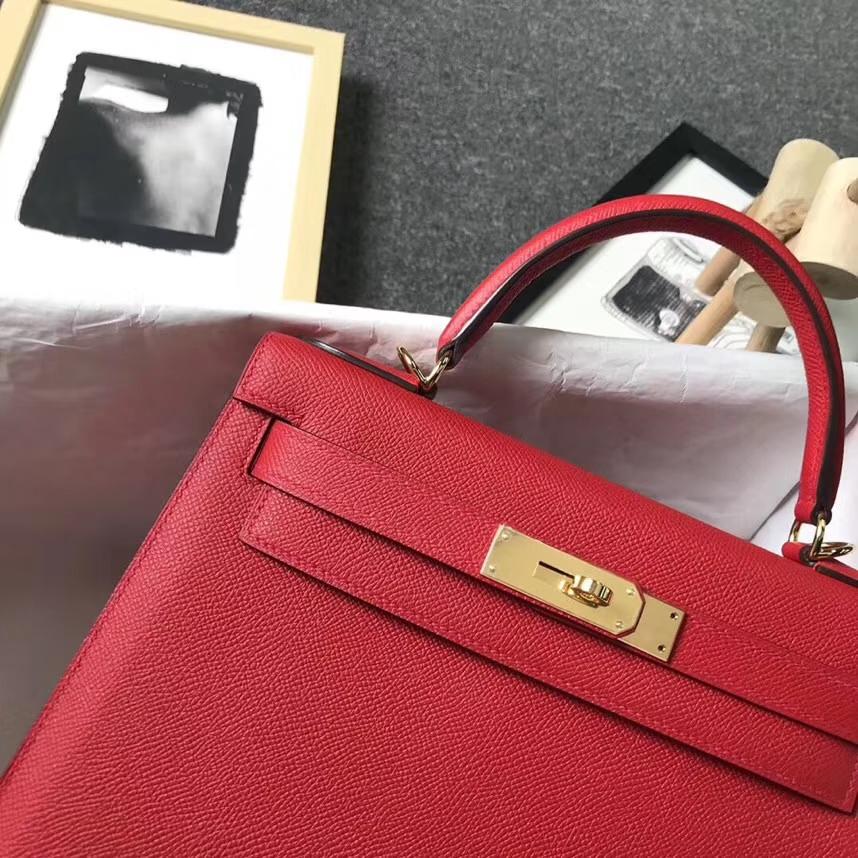 Hermès(爱马仕 Q5国旗红 原厂epsom皮 Kelly 28 金扣