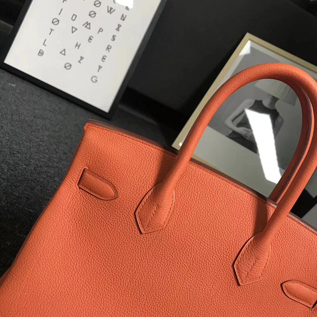 Hermès(爱马仕)经典橙色 原厂御用顶级小牛皮 Birkin 30 金扣