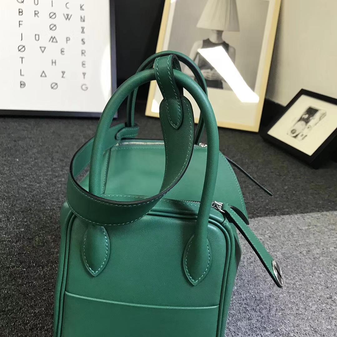 Hermès(爱马仕)U4 丝绒绿 原厂御用顶级Swift 皮 Lindy 26 银扣