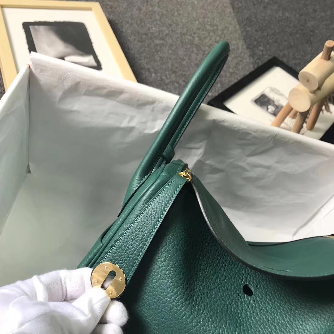 Hermès(爱马仕)Z6孔雀绿 原厂御用顶级小牛皮 Lindy 26 金扣