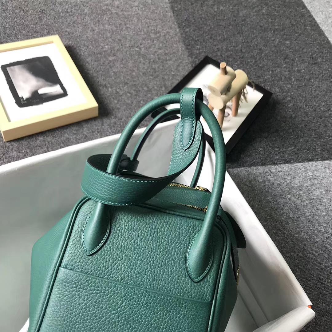 Hermès(爱马仕)Z6孔雀绿 原厂御用顶级TC 皮 Lindy 30 金扣