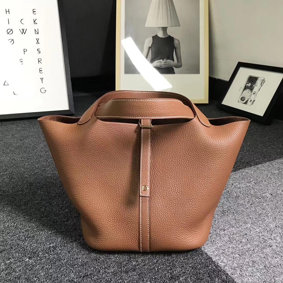 Hermès(爱马仕)金棕色 原厂御用顶级TC 皮 Picotin  Lock 22cm 金扣 银扣 现货