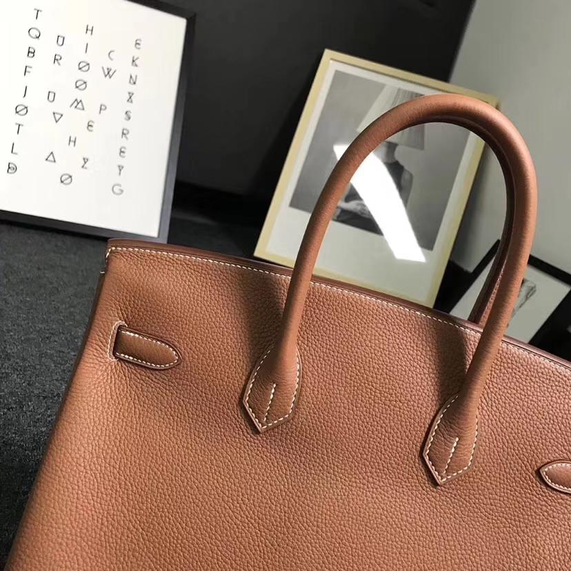 Hermès(爱马仕)金棕色 原厂御用顶级小牛皮 Birkin 35 金扣 银扣 现货