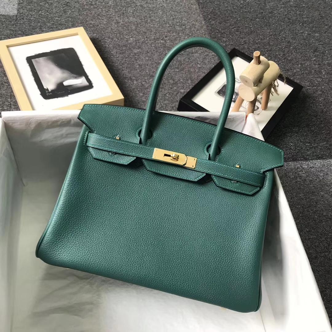 Hermès(爱马仕)Z6孔雀绿 原厂御用顶级小牛皮 Birkin 30 金扣
