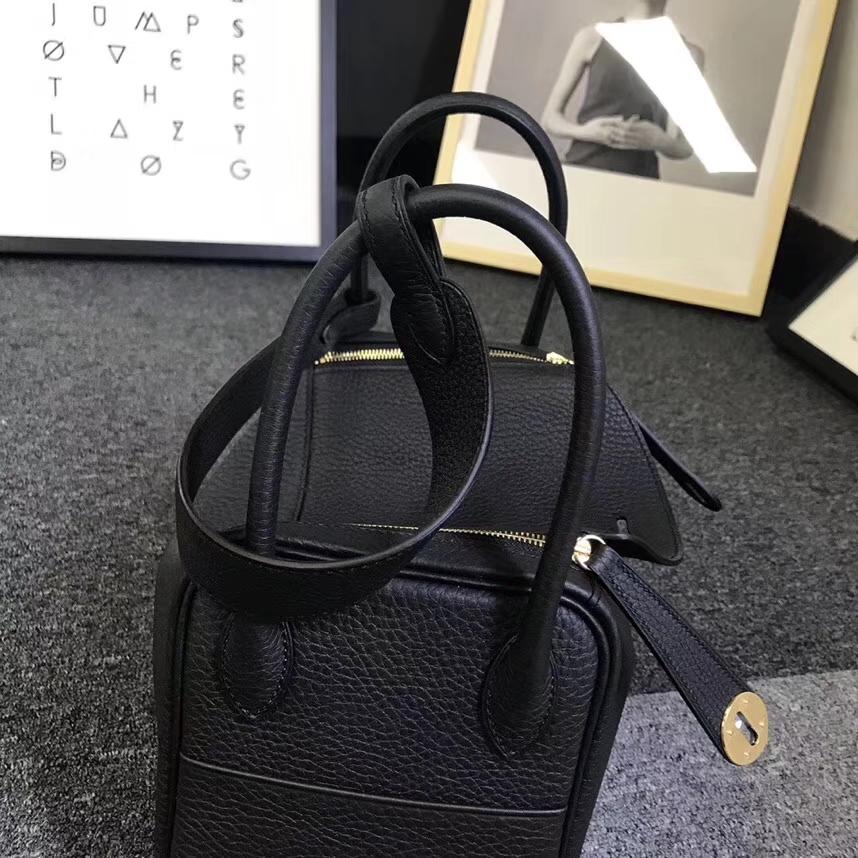 Hermès(爱马仕)CK89 黑色 原厂御用顶级小牛皮 Lindy 26 金扣