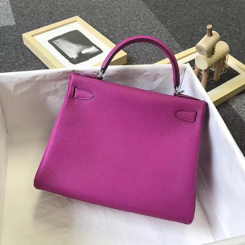 Hermès(爱马仕)L3枚紫色 原厂御用顶级小牛皮 Kelly 28 银扣