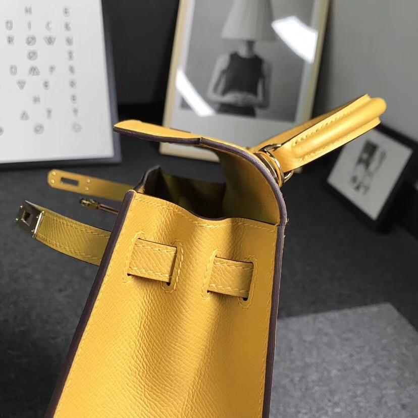 Hermès(爱马仕)9D琥珀黄 原厂御用顶级Epsom 皮 Kelly 25 外缝 金扣