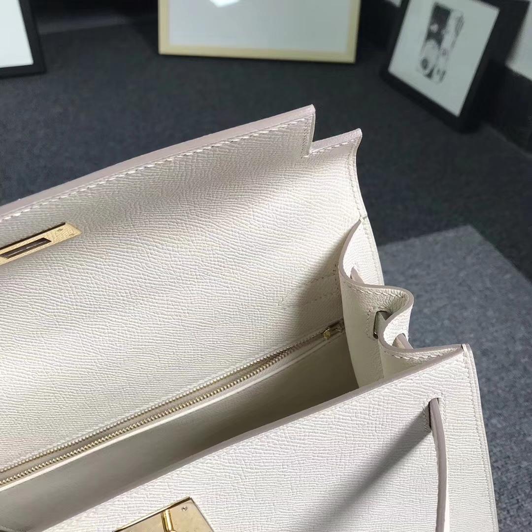 Hermès(爱马仕)奶昔白 原厂御用顶级Epsom 皮 Kelly 28 外缝 金扣 现货