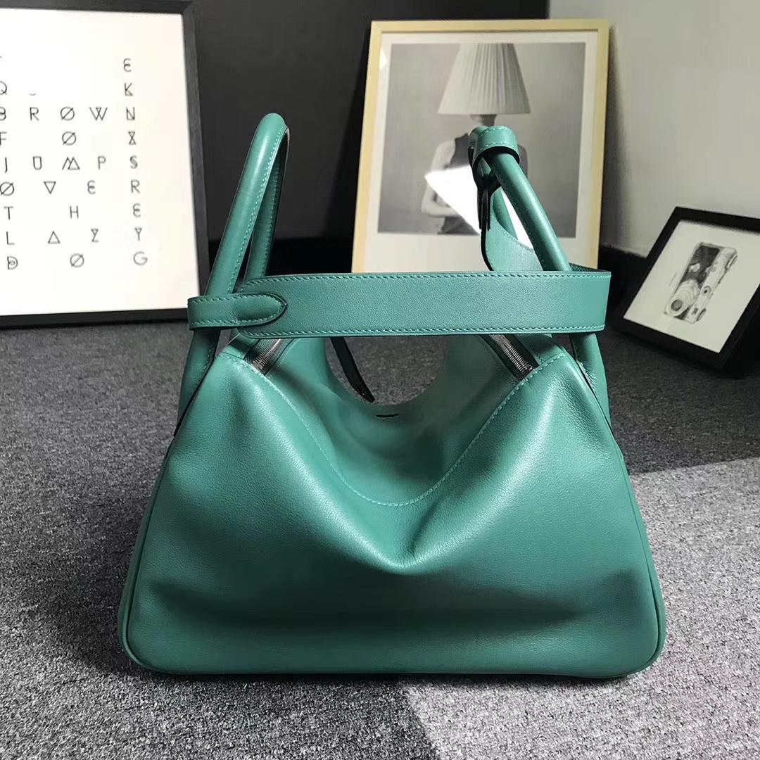 Hermès(爱马仕)Z6 孔雀绿 原厂御用顶级Swift 皮 Lindy 30 银扣
