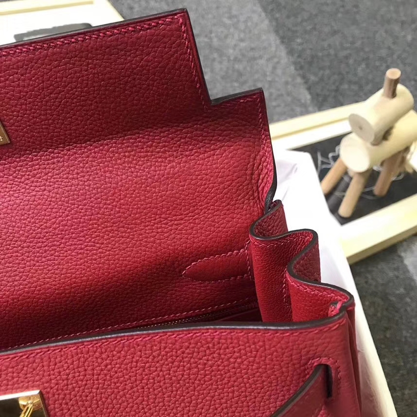 Hermès(爱马仕)Q5 中国红 糖果红 原厂御用顶级小牛皮 Kelly 28 银扣 现货