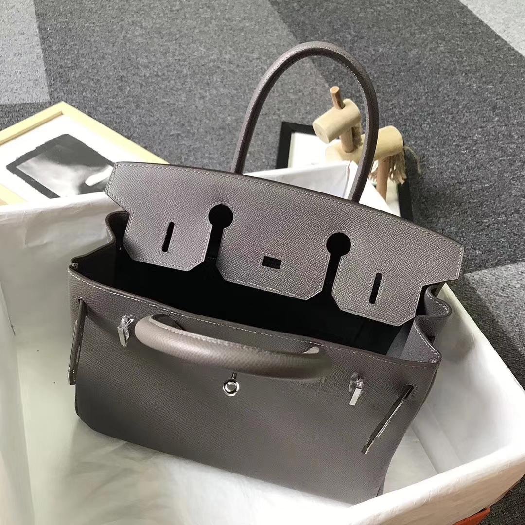 Hermès(爱马仕)8F锡器灰 原厂御用顶级Epsom 皮 Birkin 30 银扣