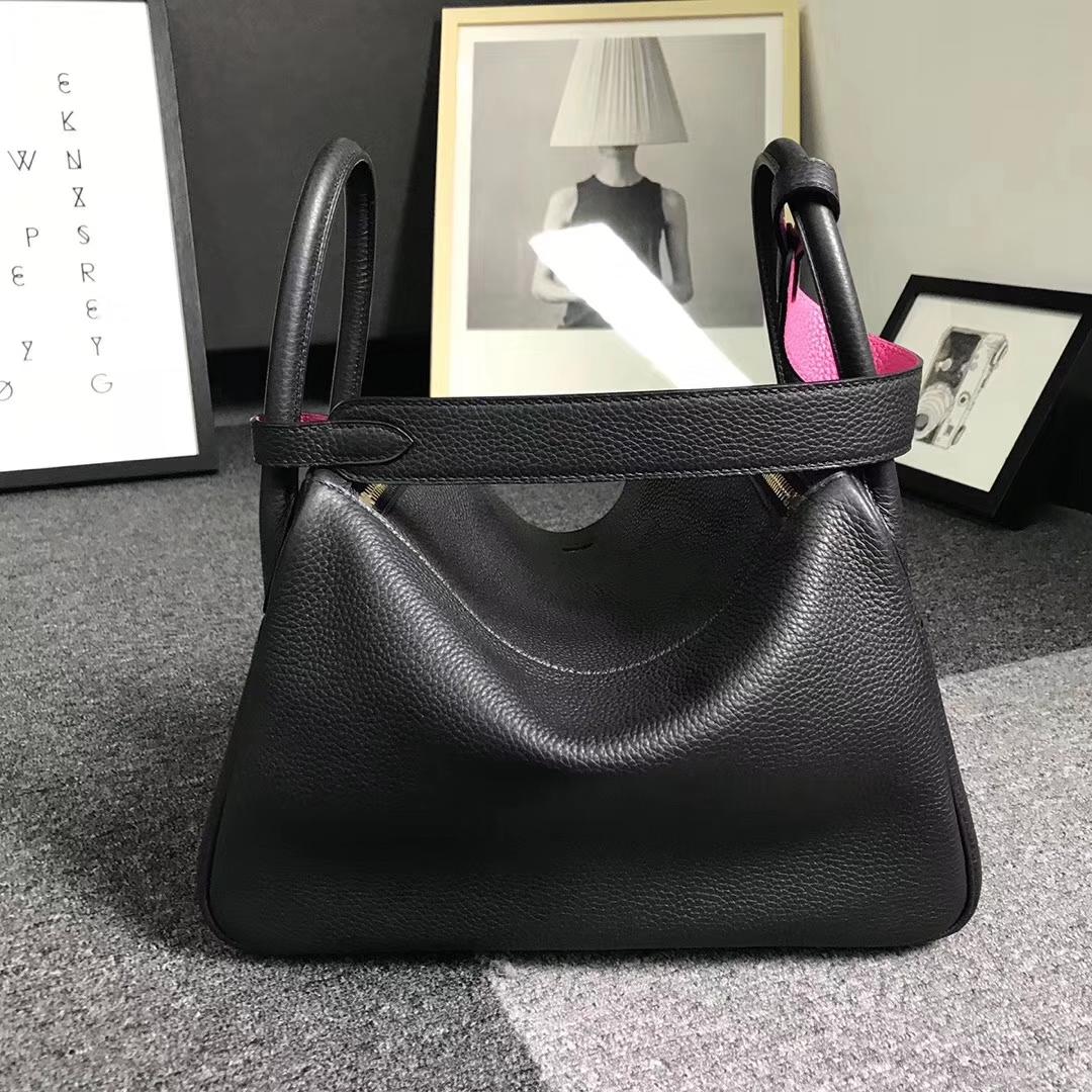 Hermès(爱马仕)黑色拼糖果粉 原厂御用顶级TC 皮 Lindy 30 金扣