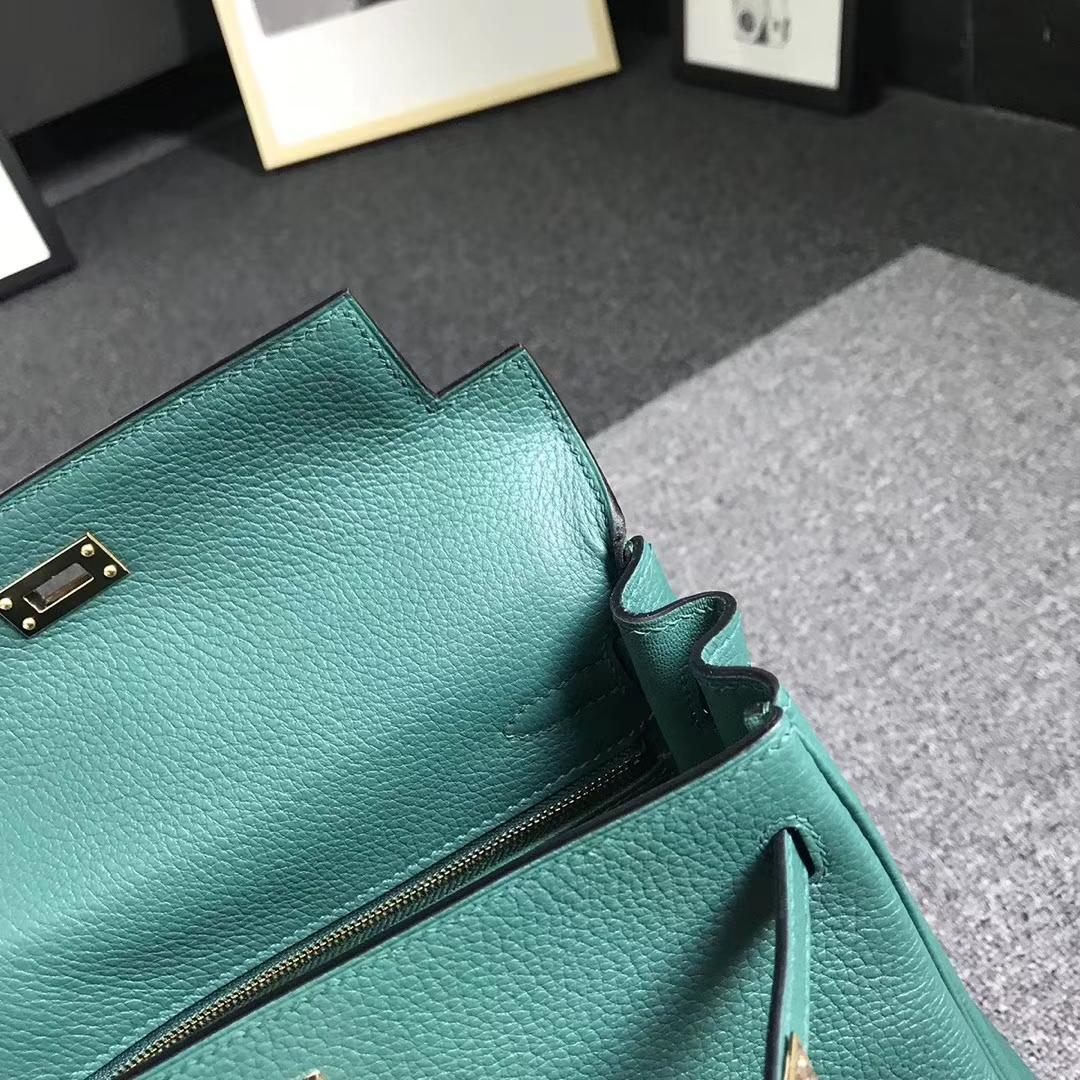 Hermès(爱马仕)孔雀绿 原厂顶级togo小牛皮 Kelly25 金扣