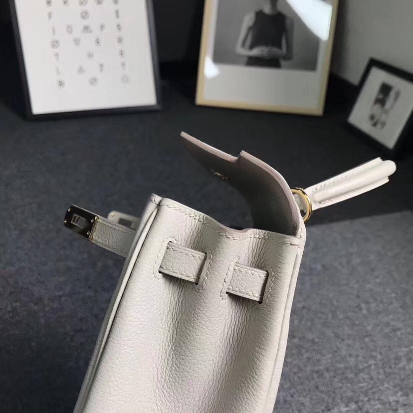 Hermès(爱马仕)C80 珍珠灰 原厂御用顶级小牛皮 Kelly 25 金扣
