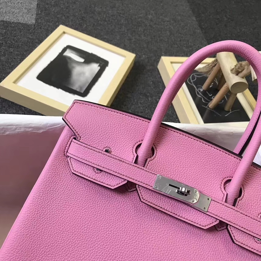 Hermès(爱马仕)5P樱花粉 原厂御用顶级小牛皮 Birkin 30 银扣