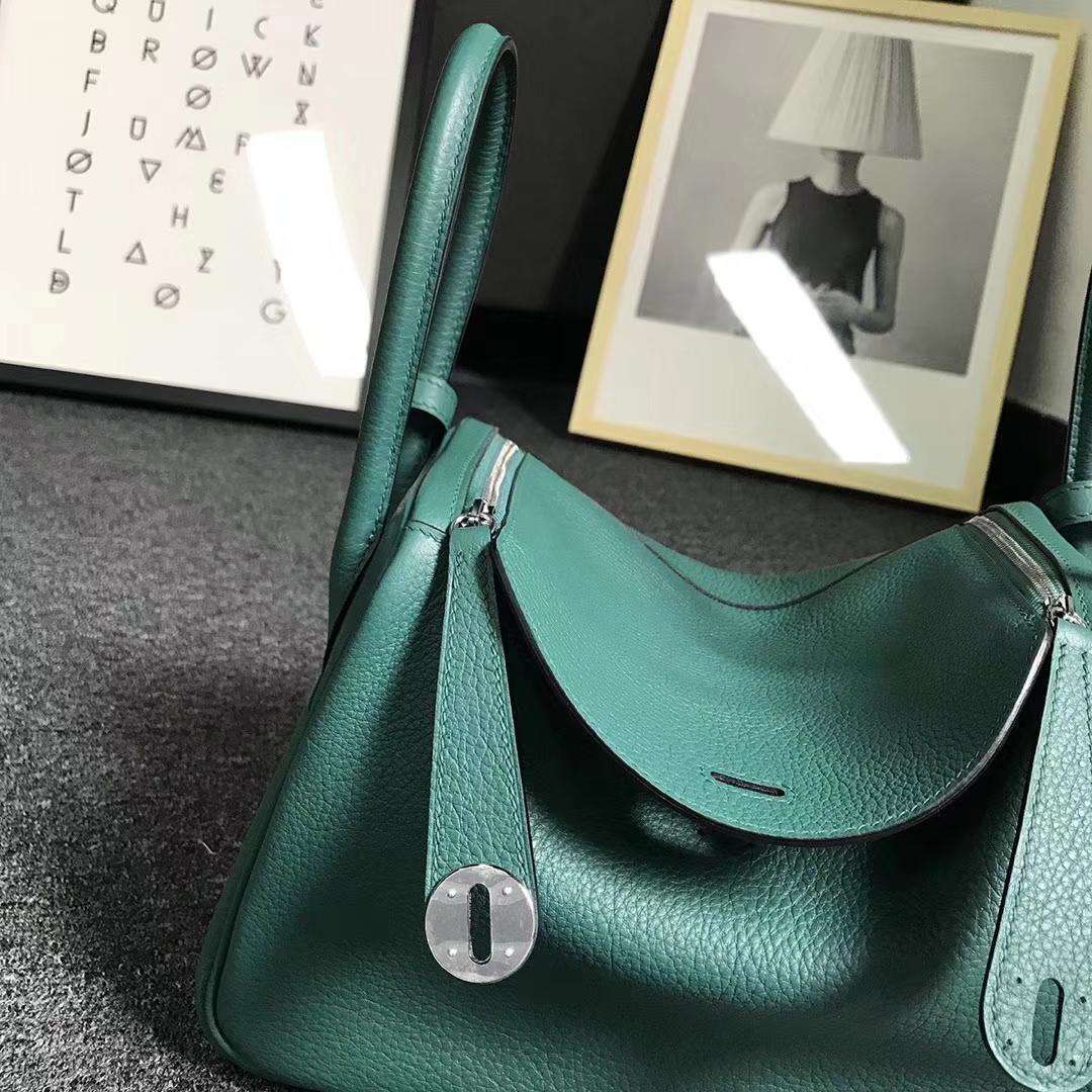 Hermès(爱马仕)Z6 孔雀绿 原厂御用顶级小牛皮 Lindy 26 银扣