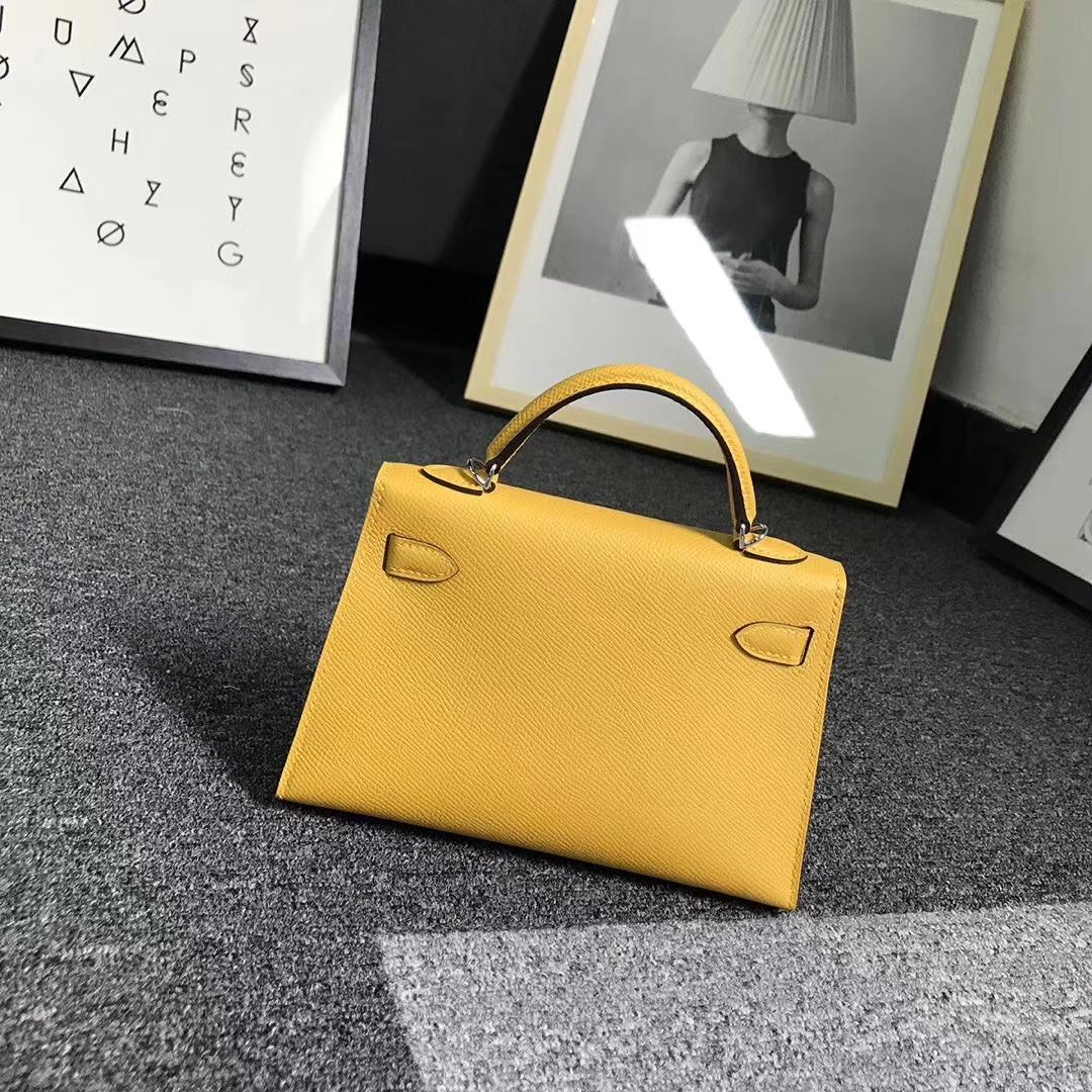 Hermès(爱马仕)9D琥珀黄 原厂御用顶级Epsom 皮 Mini  Kelly 二代 银扣 现货