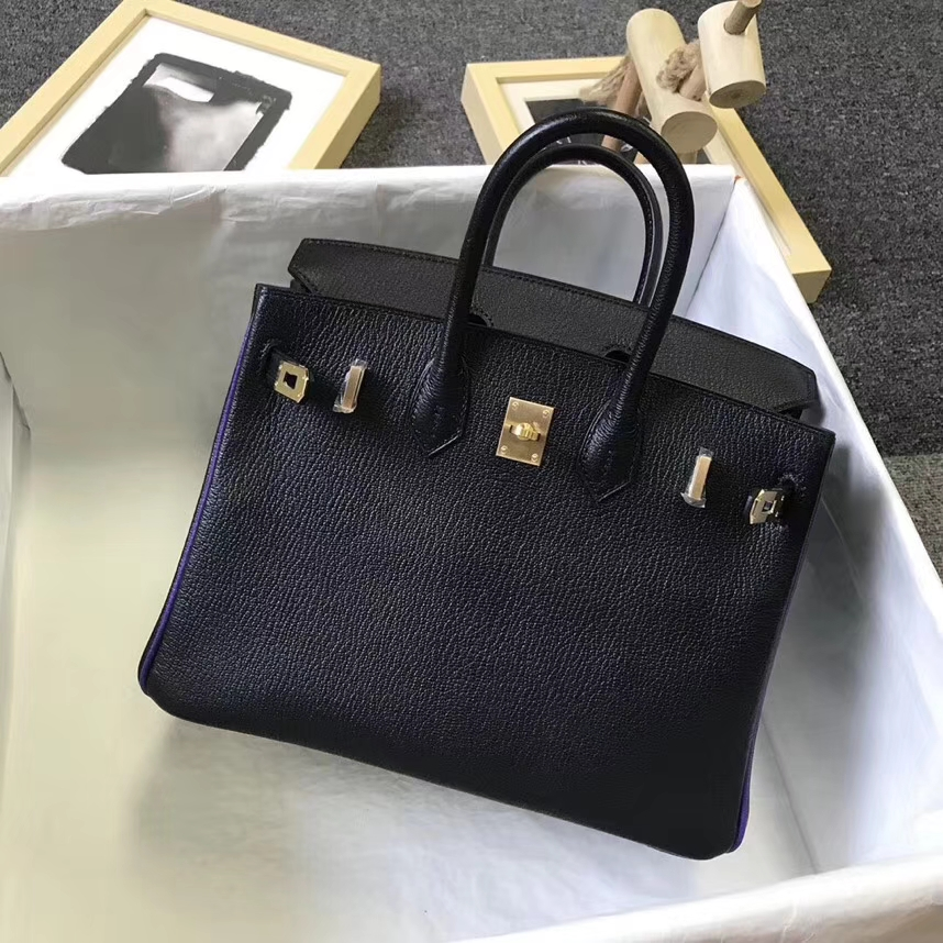 Hermès(爱马仕)黑色拼9W梦幻紫 原厂御用顶级山羊皮 Birkin 25 拉丝金扣