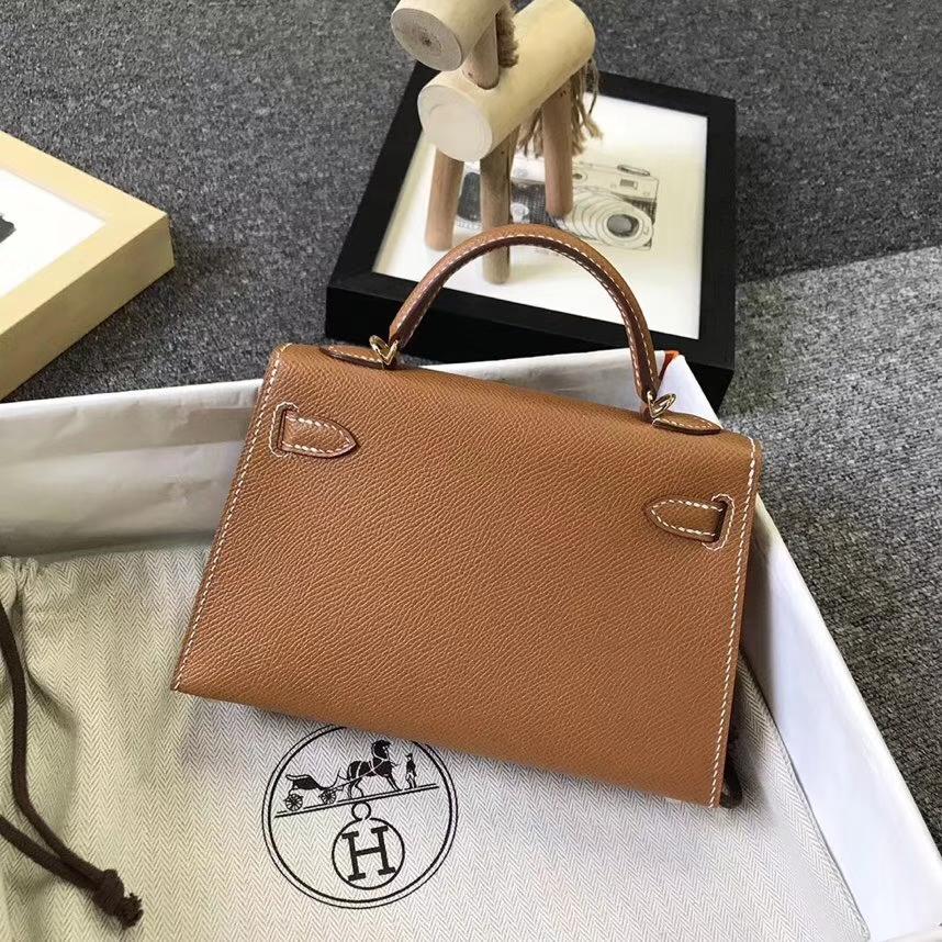 Hermès(爱马仕)金棕色 原厂御用顶级Epsom 皮 Mini Kelly 二代 金扣 现货