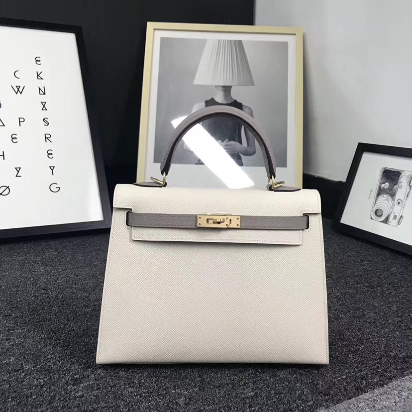 Hermès(爱马仕)奶昔白拼沥青灰 原厂御用顶级Epsom 皮 Kelly 25 外缝 拉丝金扣